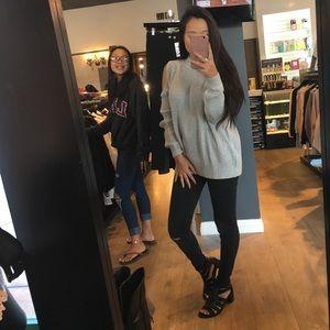 Grey Oversized Cold Shoulder Sweater